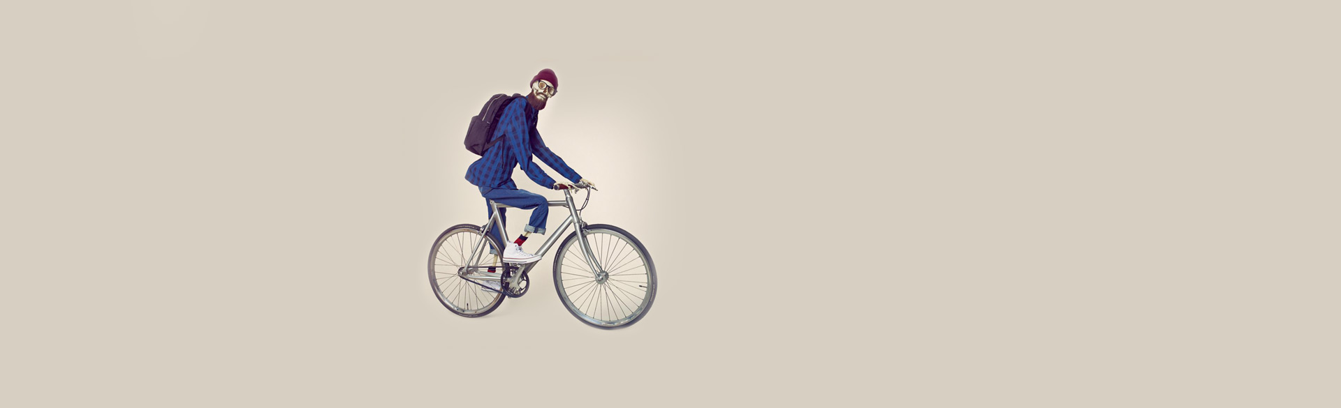 hipsteris ant dviračio